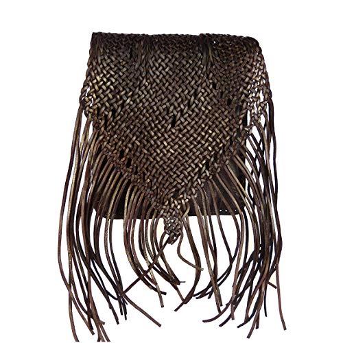 """Leder-Tasche """"Indian"""" 30x25cm Dunkelbraun • marokkanische Umhängetasche mit Fransen in Flecht-Optik • 100% Handarbeit & Rindsleder • Handtasche mit 2 Fächern • als Abendtasche geeignet"""