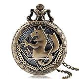 YHWW Reloj de bolsill oModa Full Metal Alchemist Cobre Reloj de Bolsillo de Cuarzo Hombres Collar Vintage Mujeres Relojes de Moda Reloj de Bronce Regalo para niños