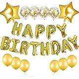 JanPraci Globos de Cumpleaños, Decoraciones de Fiesta, Globo de Confeti con Letras Happy Birthday, Globos de Lámina de Látex, Globos Cumpleaños para Hombres Mujeres Adultos Ñinos (Oro)