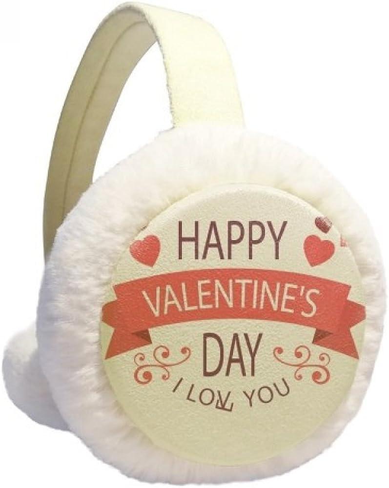 Love You Happy Valentine's Day Winter Ear Warmer Cable Knit Furry Fleece Earmuff Outdoor