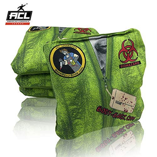 Beer Belly Bags Cornhole - Body Bags Set of 4 Bags ACL Approved Resin Filled - Double Sided - Sticky Side | Slick Side (Lime Green)