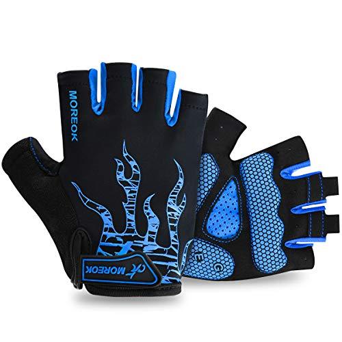 BTNEEU Fingerlose Fahrradhandschuhe mit Gel Mountainbike Handschuhe Halbfinger Männer, Atmungsaktiv Trainingshandschuhe Rennrad Handschuhe Radhandschuhe MTB Handschuhe für Damen Herren (blau, L)