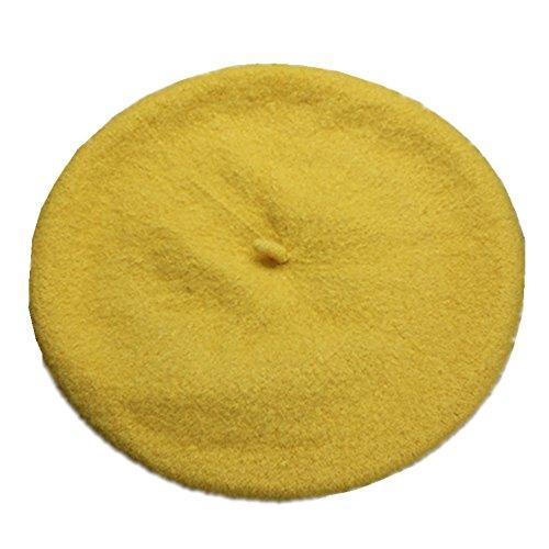 JOYHY Kinder Solide Französischer Stil Barett Mütze Hut Gelb