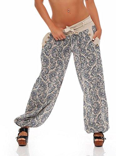 Malito Damen Pumphose mit Orient Print | leichte Stoffhose | Freizeithose für den Strand | Haremshose - luftig 3488 (beige)