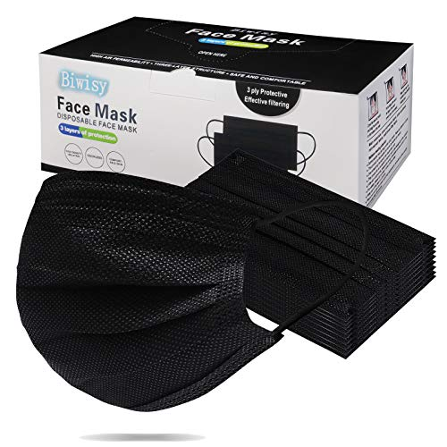 Biwisy 50pcs 3-Ply Disposable Face Mask Breathable Black Masks of 50 PCS Black