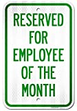 UT-TP Reserved Parking Signo Employee of The Month Private Paarking Signo, Large Aluminum, Easy Mounting