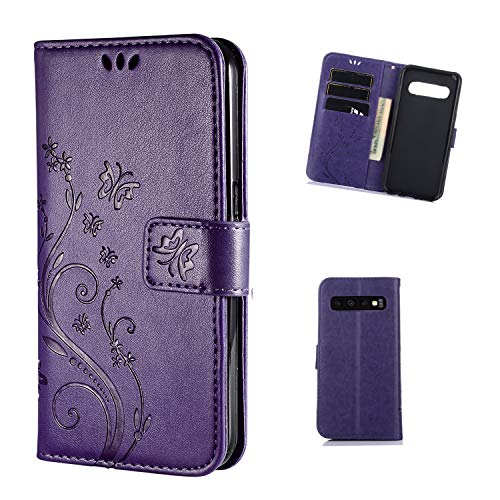 FLYEE Samsung Galaxy S10 Case,Galaxy S10 Wallet Case, Flip Case Wallet Leather [Kickstand] Emboss Butterfly Flower Folio Magnetic Protective Cover with Card Slots for Galaxy S10 6.1 inch Purple