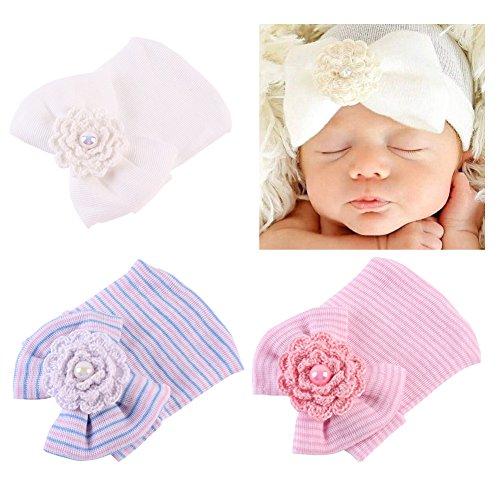 COUXILY Baby Hat 3 Unids Recién Nacido Elastico Stretch Head Wrap Infantil Turbante Niño Bebé Nudo Diadema (H-S02)