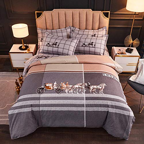 Epissche Four-Piece Bed Three-Piece Bed Bedding Bed Cover Four-Piece Thick Brushed Duvet Cover Home Textile-Y Style Mocha_Quilt Cover 200 * 230 Sheet 250 * 230 Pillowcase 48 * 74 * 2