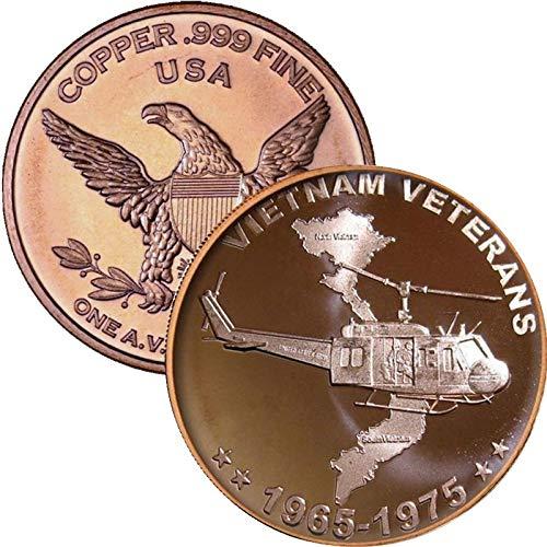Private Mint 1 oz .999 Pure Copper Round/Challenge Coin (Vietnam Veterans)