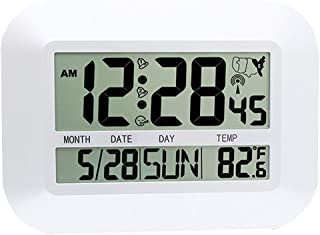 FAS1 Radio Controlled Digital Wall Clock LCD Desk Alarm Clock with Temperature Date Calendar for Office Home (US Version) - 25cm X 18cm