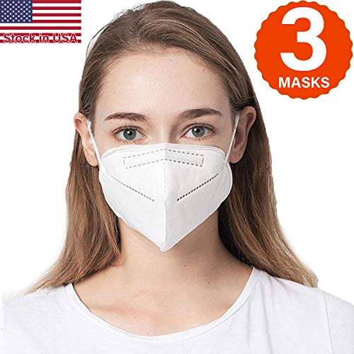 COOLINKO 5 Layers 95% Filtration Mask White Headgear - Liquid and Dust Proof Face Protection (3 Masks)