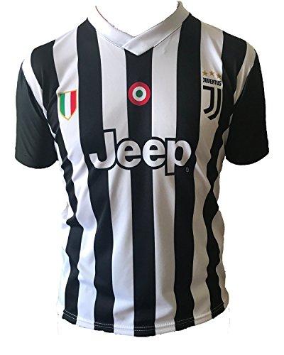 Juventus Maglia Replica Ufficiale 2017-18 Senza Nome Numero Bambino Uomo Adulto Juve Home (cm:Spalle 46,Torace 52,lungh.69-Small)