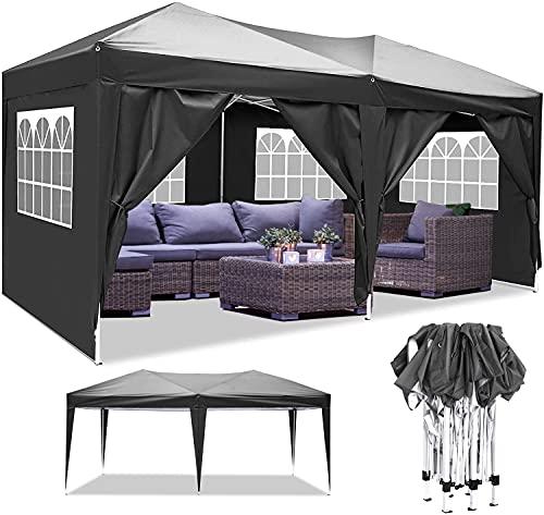 Pavillon 3x3m/3x6m Wasserdicht Zelt Partyzelt Faltpavillon Gartenzelt für Garten Markt Camping Hochzeiten Festival mit 4 Seitenteilen UV-Schutz 50+ (Schwarz, 3x6m)