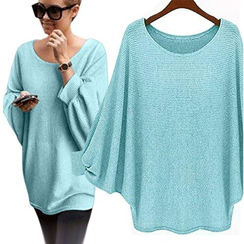 KEYIA Femme T-Shirts à Manches Longues Automne Hiver Pulls Chauve-Souris Surdimensionnées Sweat-Shirts Chemisiers Et Blouses