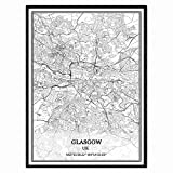 Glasgow Vereinigtes Königreich Karte Wandkunst Leinwand
