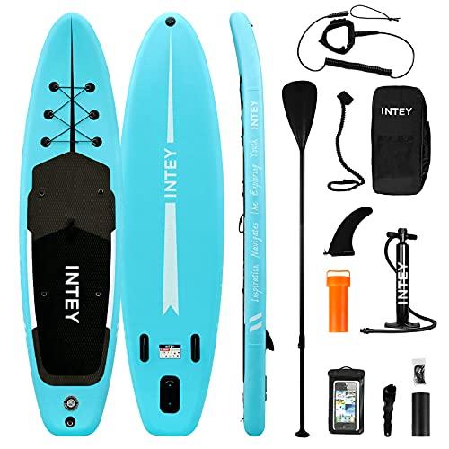 INTEY Tabla Paddle Surf Hinchable, Sup Paddle Remo Ajustable, Tabla Stand Up Paddle Board, Bomba de Doble, Seguridad (Azul Claro)