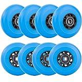 AOWESM Inline Skate Wheels 72mm 76mm 80mm Asphalt Outdoor Roller Blades Inline Hockey Replacement Wheel 85A (8 Wheels w/Bearings ABEC-9 and Spacers) (Blue, 76mm Diameter)