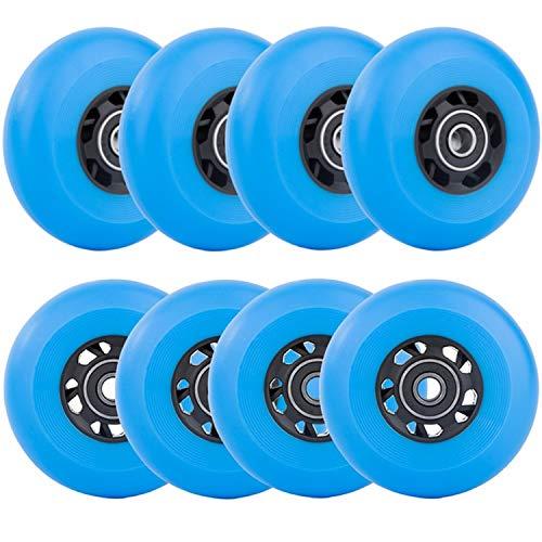 AOWESM Inline Skate Wheels 85A Gripper Asphalt Outdoor Inline Roller Hockey Ersatzräder mit Kugellager ABEC-9 (8er-Pack) (blau, 76 mm Durchmesser)