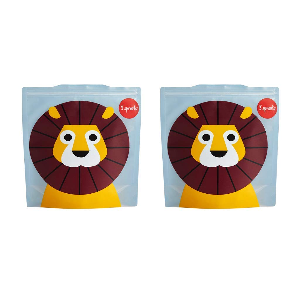 3 Sprouts Sandwich Bag 2 Pack Sloth Reusable and Washable Lunch Storage Bag for Kids