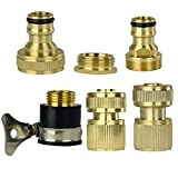 Set of 6 Brass Garden Lawn Water Hose Pipe Fitting Set Connector Tap Adaptor by Gardeningwill