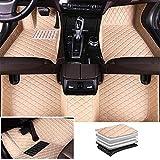Tuqiang Alfombrillas de coche personalizadas para Bentley Continental GT/Flying Spur, de piel de lujo, impermeables, antideslizantes, delanteras y traseras, accesorios para proteger el suelo (beige)