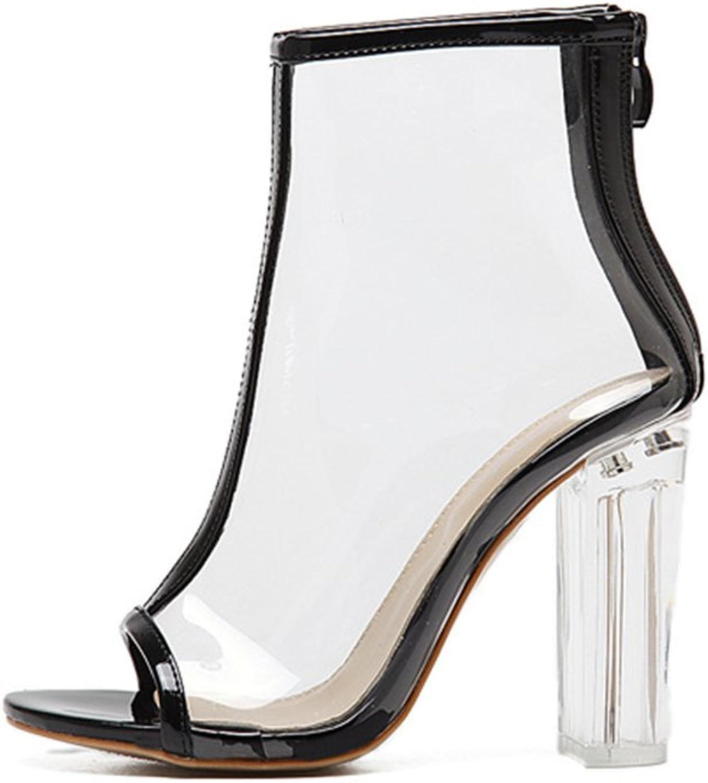 Peep Toe Gladiator Chunky Heels Pumps Sandals