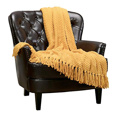 Chanasya Textured Knitted Super Soft Throw Blanket with Tassels Warm Plush Lightweight Fluffy Woven Blanket for Bed Sofa Couch Cover Living Bed Room Acrylic Yellow Throw Blanket (50x65 Inches) Golden