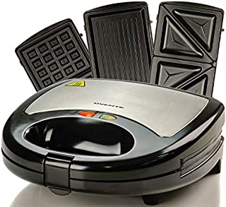 Ovente Electric Indoor Sandwich Grill Waffle Maker Set with 3 Removable Non-Stick Cast Iron Cooking Plates, 750W Countertop Breakfast Bread Toaster Perfect for Grilled Cheese Egg Steak, Black GPI302B