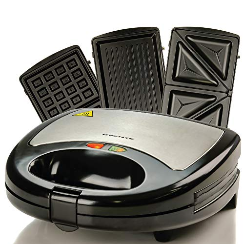 Ovente Electric Sandwich Grill Waffle Maker Set with 3 Removable Nonstick Cooking Cast Iron Toaster Plates, Portable Compact 750 Watt Easy Breakfast Toast for Grilled Cheese Egg Bread, Black GPI302B