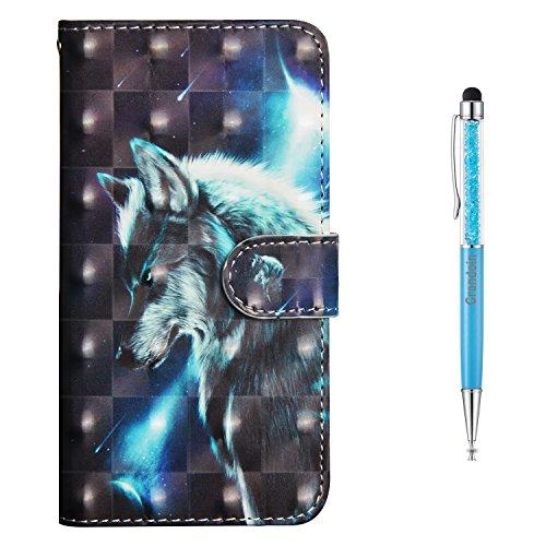 Grandoin Galaxy J3 2017 Hülle, Handyhülle im Brieftasche-Stil für Samsung Galaxy J3 2017 Handytasche PU Leder Flip Cover 3D Bunte Muster Book Case Schutzhülle (Wolf)