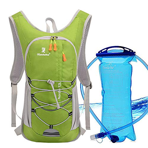 Xboun Hydration Pack  Hydration Water Backpack with 2L TPU Leak Proof Water Bladder for Men amp Women | Great for Hiking Running Cycling Camping Skiing Outdoor Activities Green