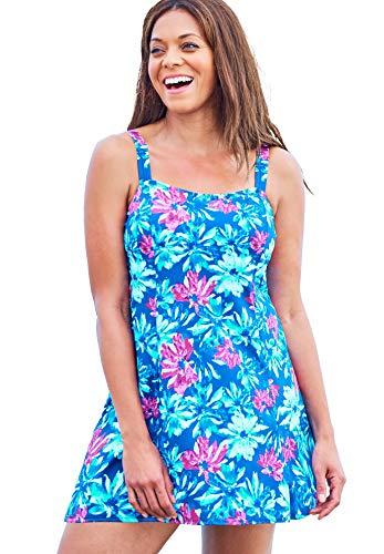 Swimsuits For All Women's Plus Size Princess-Seam Swim Dress Swimsuit - 24, Blue Painterly Floral