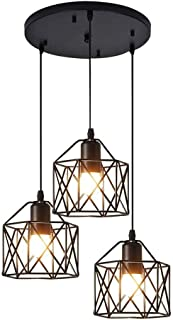 Lámpara de araña de hierro creativa nórdica LED 3 bombillas E27 Luces colgantes geométricas Vintage Retro Metal industrial, comedor/sala de estar/cocina/oficina/consultorio médico, luces de techo