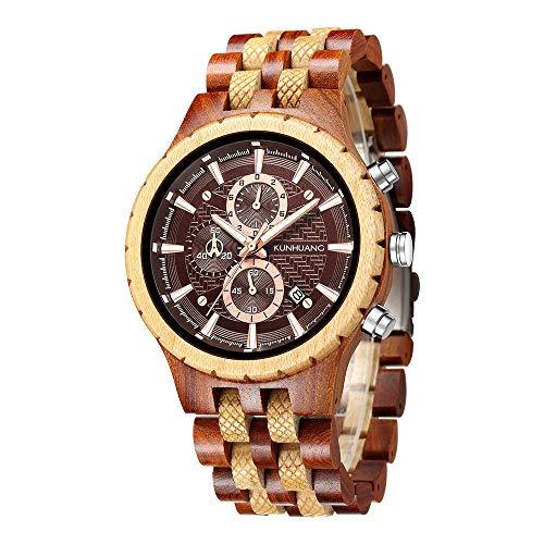 SANDA Relojes Hombre,Reloj de Cuarzo de Madera multifunción para Deportes de Moda para Hombre Nuevo de 2021-rojo