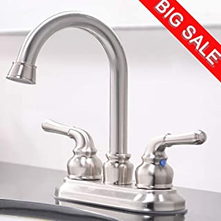 VCCUCINE Commercial Contemporary Brushed Nickel Two Handle Bathroom Sink Faucet, Without Pop Up Drain and Hot & Cold Water Hose
