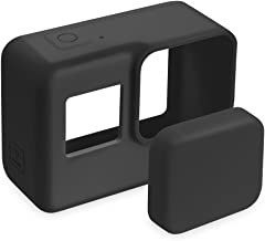 FINENIC GoPro Hero 7(Black)/6/5 Lens Protector case Accessories, Silicone Protective Cover Case and Lens Cap Protector Cover for Gopro Hero 5/6/7 Action Camera (Black)