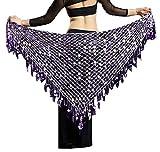 Lauthen.S Women Belly Dance Hip Scarf Sequins Mesh Triangle Wrap Skirt Waist Chain(Lavender)