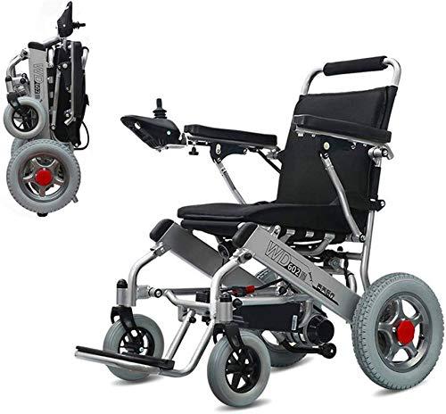 Silla de Ruedas eléctrica Plegable, Caja de seguridad móvil batería de litio Silla de ruedas eléctrica, plegable y ligero, 360 ° Joystick silla de ruedas todo terreno eléctrica plegable de dob