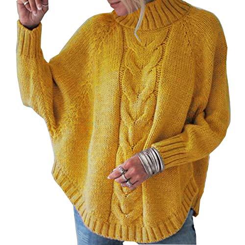 JHDESSLY Damen Rollkragenpullover mit Fledermausärmeln Strickpullover Outwear Coat Cardigan