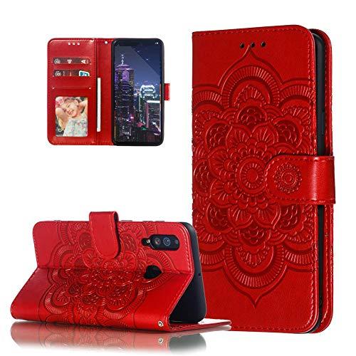 HMTECH Galaxy A40 Hülle,Für Samsung Galaxy A40 Handyhülle Prägung Mandala-Blume Flip Case PU Leder Cover Magnet Schutzhülle Tasche Skin Ständer Handytasche für Samsung Galaxy A40,LD Mandala Red