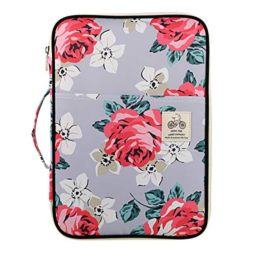 BTSKY New Multi-Functional A4 Document Bags Portfolio Organizer-Waterproof Travel Pouch Zippered Case for Ipads, Notebooks, Pens, Documents(Flower Rose)