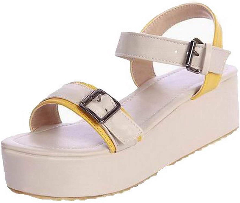 WeiPoot Women's Open-Toe Buckle Pu Low-Heels Sandals,EGHLH008057