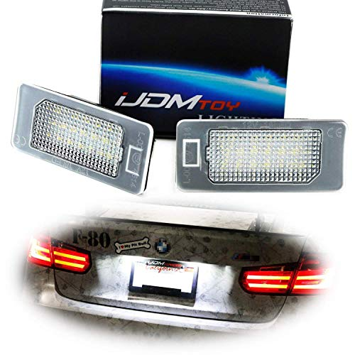 iJDMTOY OEM-Fit 3W Full LED License Plate Light Kit Compatible With BMW 1 2 3 4 5 Series X3 X4 X5 X6, Powered by 24-SMD Xenon White LED & CAN-bus Error Free