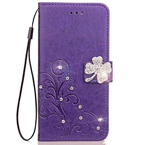 Lomogo LG K8 K350N / K7 X210 Hülle Leder, Schutzhülle Brieftasche mit Kartenfach Klappbar Magnetisch Stoßfest Handyhülle Case für LG K8 / LG K7 - LOSDA091077 Violett