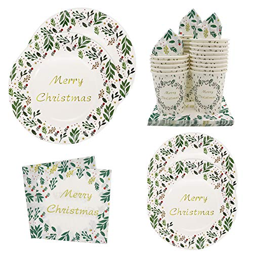 Luhiew 96 pcs Disposable Paper Christmas Party Decorations-Serves 24- Merry Christmas Tableware Set Include Dinner Plates;Dessert Plates;Cups and Napkins