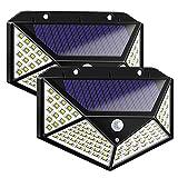 Kasachoy - Luci solari da esterni, 100 LED, con 3 modalità di illuminazione, con sensore di movimento e grandangolo di 270°, IP65, impermeabili, a energia solare, per giardino, garage, recinzioni