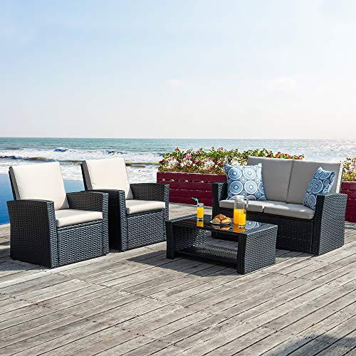 Walsunny Quality Outdoor Living,Outdoor Patio Furniture Sets,4 Piece Conversation Set Wicker Ratten Sectional Sofa with Seat Cushions (Black)