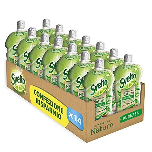 Svelto Powered by Nature Pureza - Detergente para platos a mano, sales minerales y extractos de aloe vera, 14 unidades de 450 ml