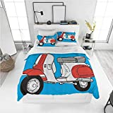 Cartoon Duvet Cover Set Funky Decor,Cute Scooter Motorcycle Retro Vintage Vespa Soho Wheels Rome Graphic Print,Blue Red White Lovely Bright Lightweight Bedding Set (Twin)